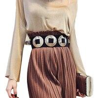 2015 Fashion Designer Head Elastic Belt For Women Ladies Queen Waist Belt Vintage Punk Belt