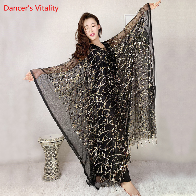 New Sequin+Mesh+modal Belly Dance Robe Performance Dance Dress Robe Oriental Dance Competition Training Dress
