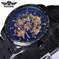 2016 Famous Winner Marca de Moda Vintage De Lujo de Acero Inoxidable Dial Negro Hombres Reloj Mecánico Esquelético De Los Hombres Reloj de Pulsera