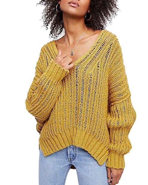 Everkaki Women Solid Knit Boho Sweaters Pullovers Long Sleeve Standard Cardigans Bohemian Holiday Female 2018 Autumn New (19)