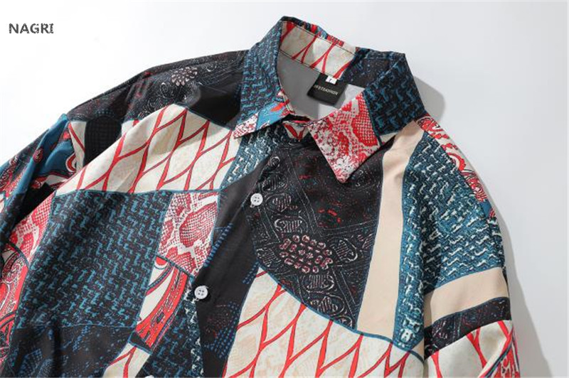 Japanese Streetwear Ukiyo E Geometry Patchwork Long Sleeve Shirts 2019 Hiphop Casual 3D Printed Hawaiian Autumn Spring Shirt Men