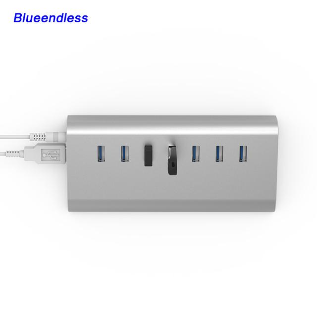 Prata Alumínio 7 Portas Série USB 3.0 Hub USB Divisor HUB USB de Alta Velocidade de Alumínio Portátil