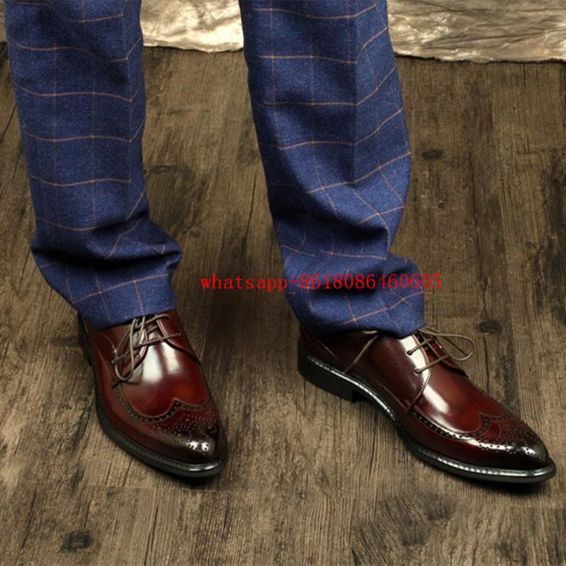 European Style brogue mens shoes genuine leather Carved lace up business prom shoes black brown oxford shoes for men shoe lasts vikeduo style semi brogue oxford shoes men welted brown color black sole handmade mens wedding dress shoes footwear casual