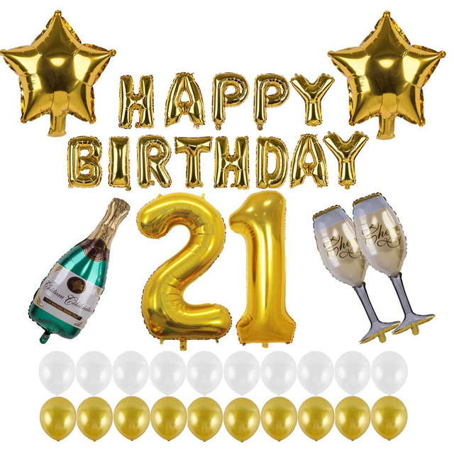 21st Birthday Party Gold Wedding Decoration Helium Balloon HAPPY BIRTHDAY Foil Wine Glass Bottle For