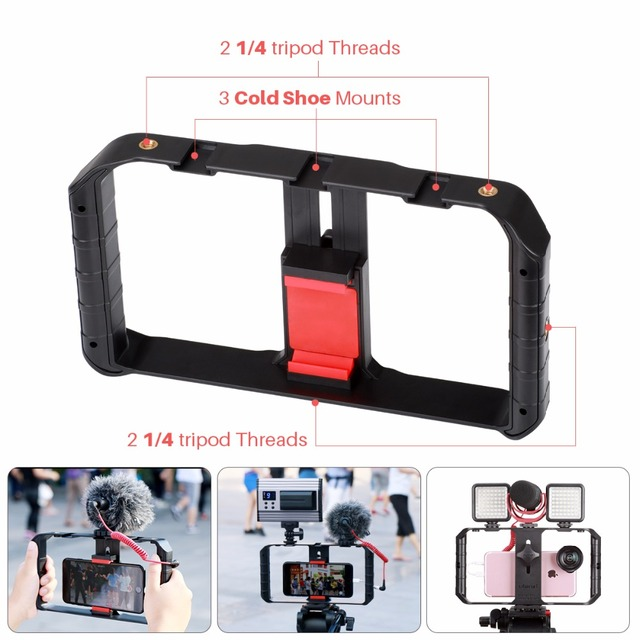 Ulanzi Smartphone Camera Video Gear Setup Handheld Video Rig+Recording microphone,LED video lamp for iPhone 8 Mobile Filmmaking 1