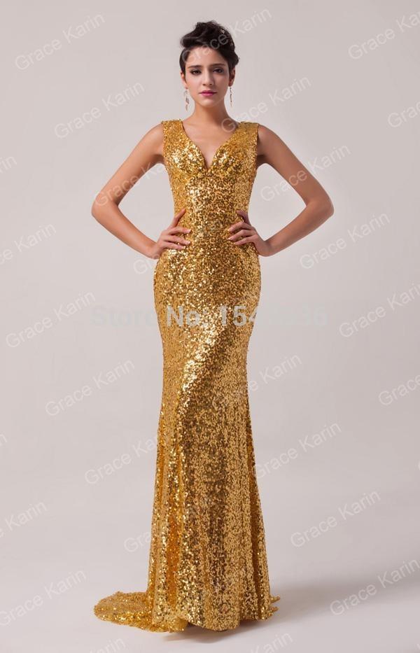 Mermaid Gold Sequins Prom Dresses Mermaid V neck Sleeveless Sparkle ...