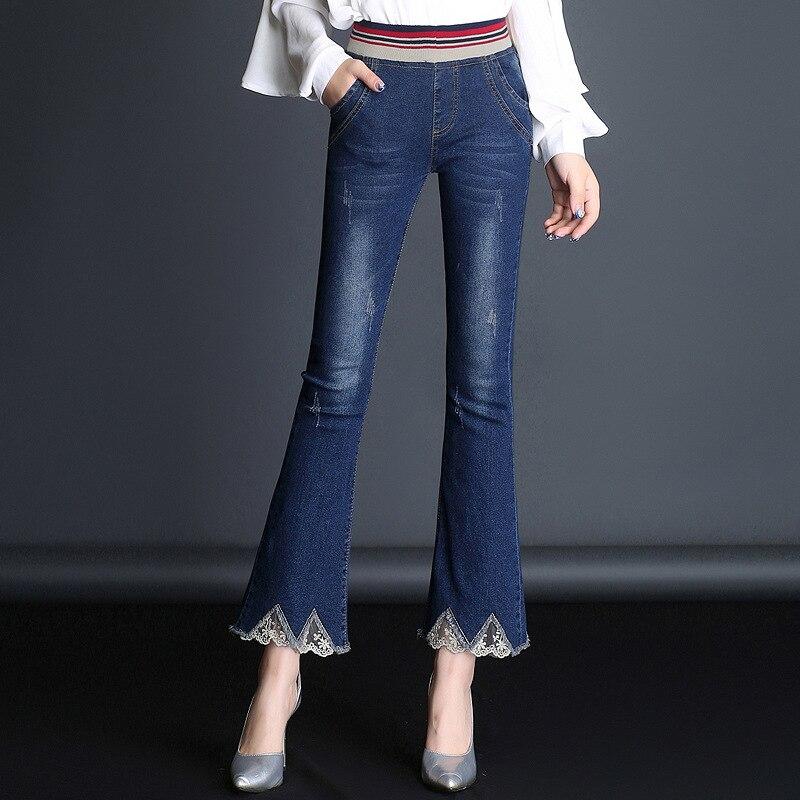 Мама Для женщин пропускной способности свободные джинсы укороченные штаны Большой размер женские модные джинсы 1HC101-118