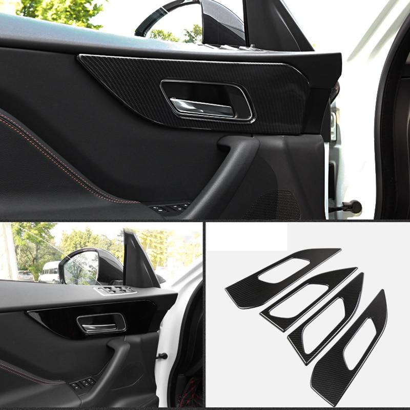 For Jaguar F PACE 2016 2019 ABS Carbon fiber texture Car interior door handle frame trim