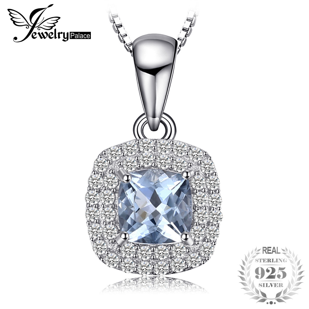 JewelryPalace Cushion Cut 0.8ct Aquamarines Pendant 925 Sterling Silver Pendant Fashion Jewelry for Women Inlcude 45cm Chain