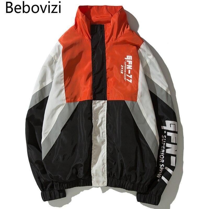 Bebovizi Hip Hop coupe-vent hommes Harajuku couleur bloc Patchwork veste manteau décontractée unisexe piste veste Streetwear vêtements filles