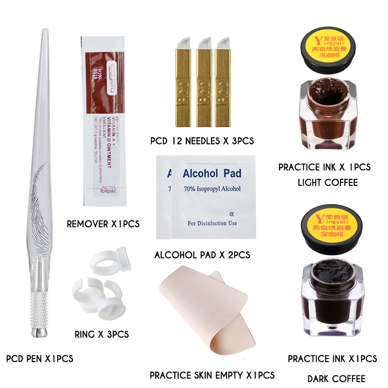 Microblading Tattoo Practice Kit Manual Tattoo Pen Practice Pigment Practice Skin Tattoo Needle Permanent Makeup Tattoo Supplies