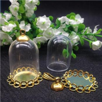 20set/lot 25*18mm vial glass dome glass Bubble with gloden double lace base with top cap DIY hanging