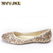 MVVJKE Lady Sequined Cloth Bling Dancing Shoes Ballet Comfortable Loafers Autumn Round toe Slip-on No Heel Flats Black Gold