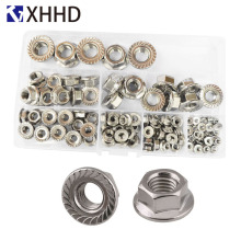 304 Stainless Stee Hex Flange Nut Metric Thread Hexagon Pinking Slip Locking Lock Nut Set Assortment Kit M3 M4 M5 M6 M8 M10 M12