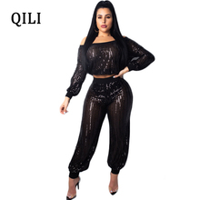 QILI Women Black Sequined Jumpsuits Romper Long Sleeve Mesh Two Piece Set  Sexy See Through Club