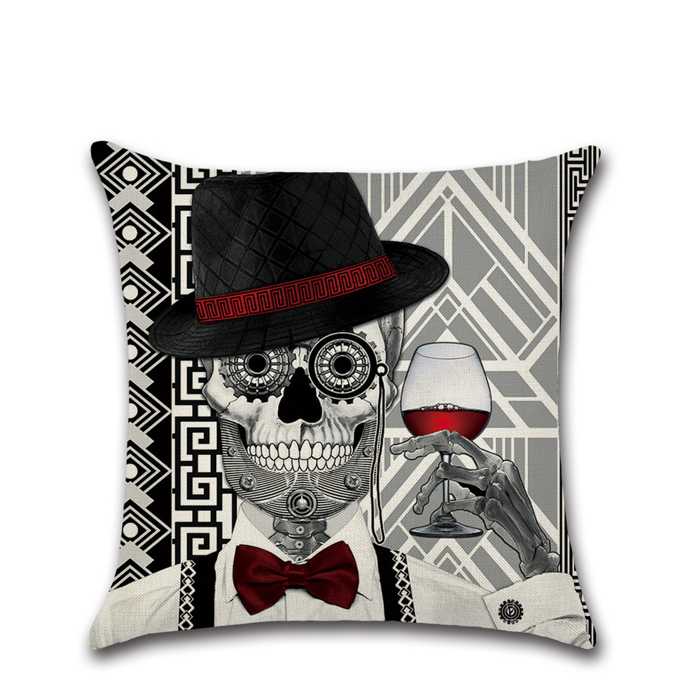 1 Pcs Skull Cushion Cover Pillow Case Protector 18 X 18 Inch Square Linen Soft Pillowcases For Halloween(806)