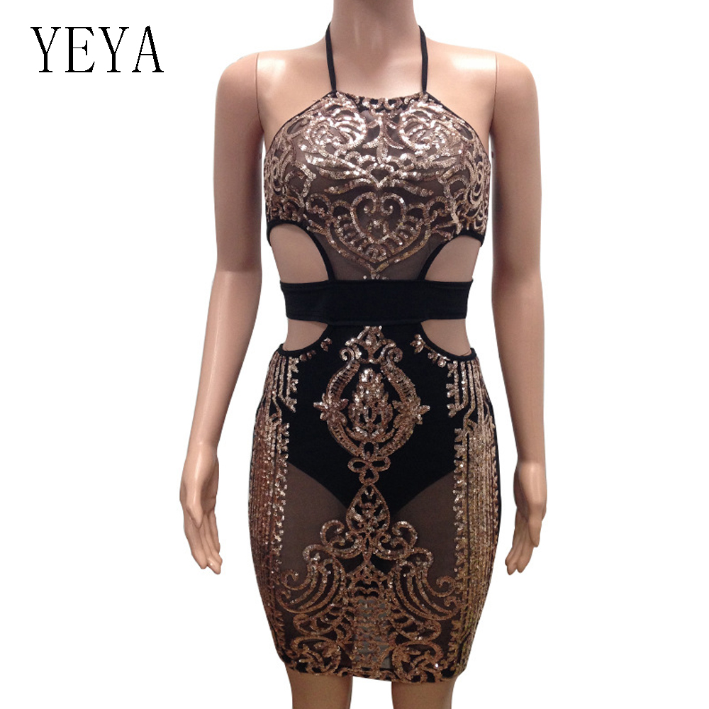 2ae1ccbd64bee US $14.18 28% OFF|YEYA Women Sequin Dresses Halter Backless Hollow Out  Party Night Club Dress Sexy See Through Bodycon Mesh Dresses Vestidos  Femme-in ...