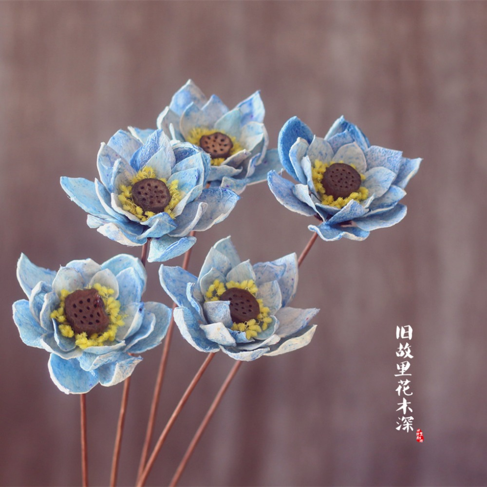 Blue lotus plant art dried flower art small fresh home club blue lotus plant art dried flower art small fresh home club decoration guest restaurant coffee bar bar clothing shopping in artificial dried mightylinksfo