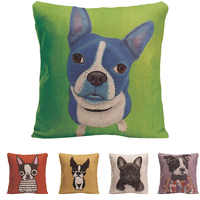 Funny Pug Pop Dog Cushion Cover Decorative Throw Pillows Colorul French BullDog Watercolor Pattern Cotton Linen Bull Terrier