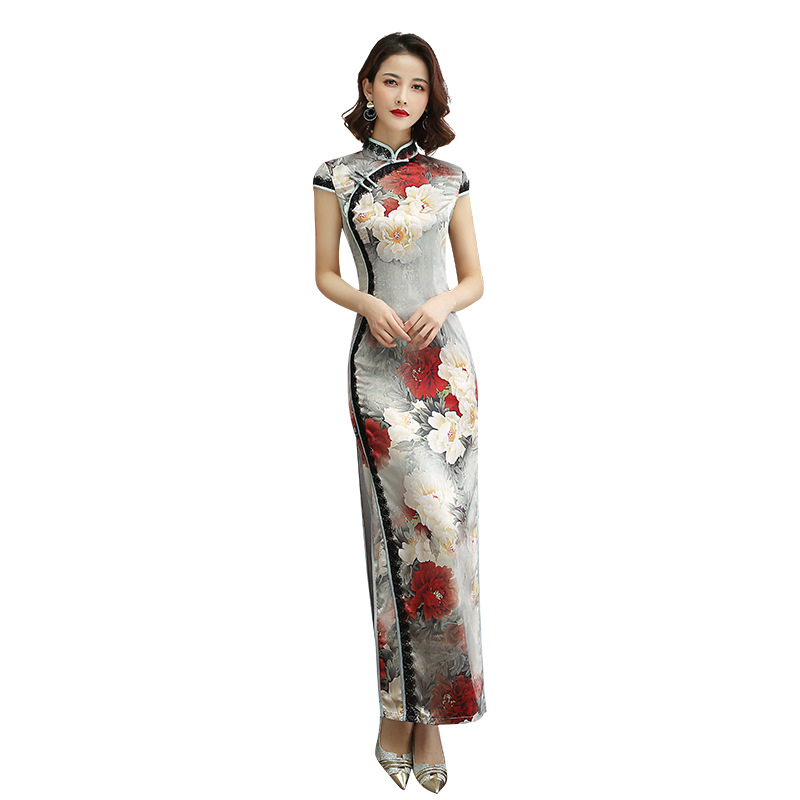 ヴィンテージレディセクシーなチャイナ中国の伝統的な女性のドレスエレガントなレーヨンプリント手作りボタン Silm 袍プラスサイズ 3XL 4XL  グループ上の レディース衣服 からの ドレス の中 1
