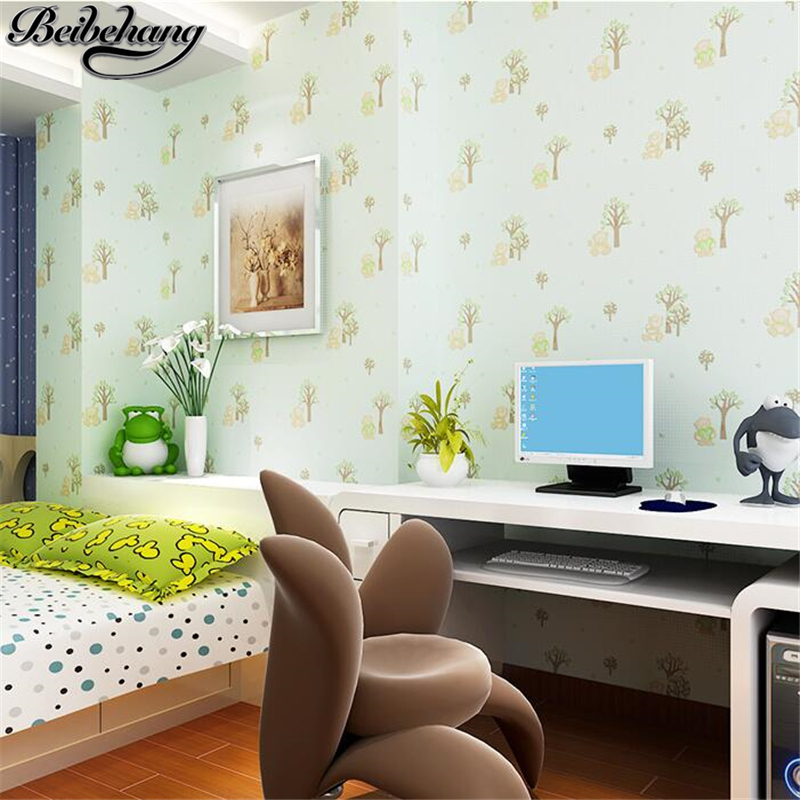 beibehang Children 's room wallpaper and girls bedroom non - woven fabrics warm pastoral wallpaper breathable cartoon branches cheng shuo wallpaper british children room non woven wallpaper the bedroom wallpaper small pure and fresh and stars wallpaper