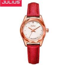 Venta Julius Luxury Brand Vintage Relojes de Las Mujeres Reloj de pulsera de Oro Reloj de Las Mujeres ocasionales de Cuero de la Señora Reloj de Cuarzo Relojes Mujer