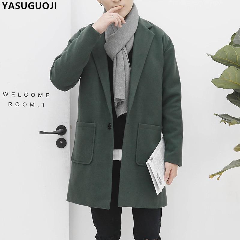 YASUGUOJI winter england style fashion oversize solid color Single Button long coat men thick cotton liner wollen coat men NDY15
