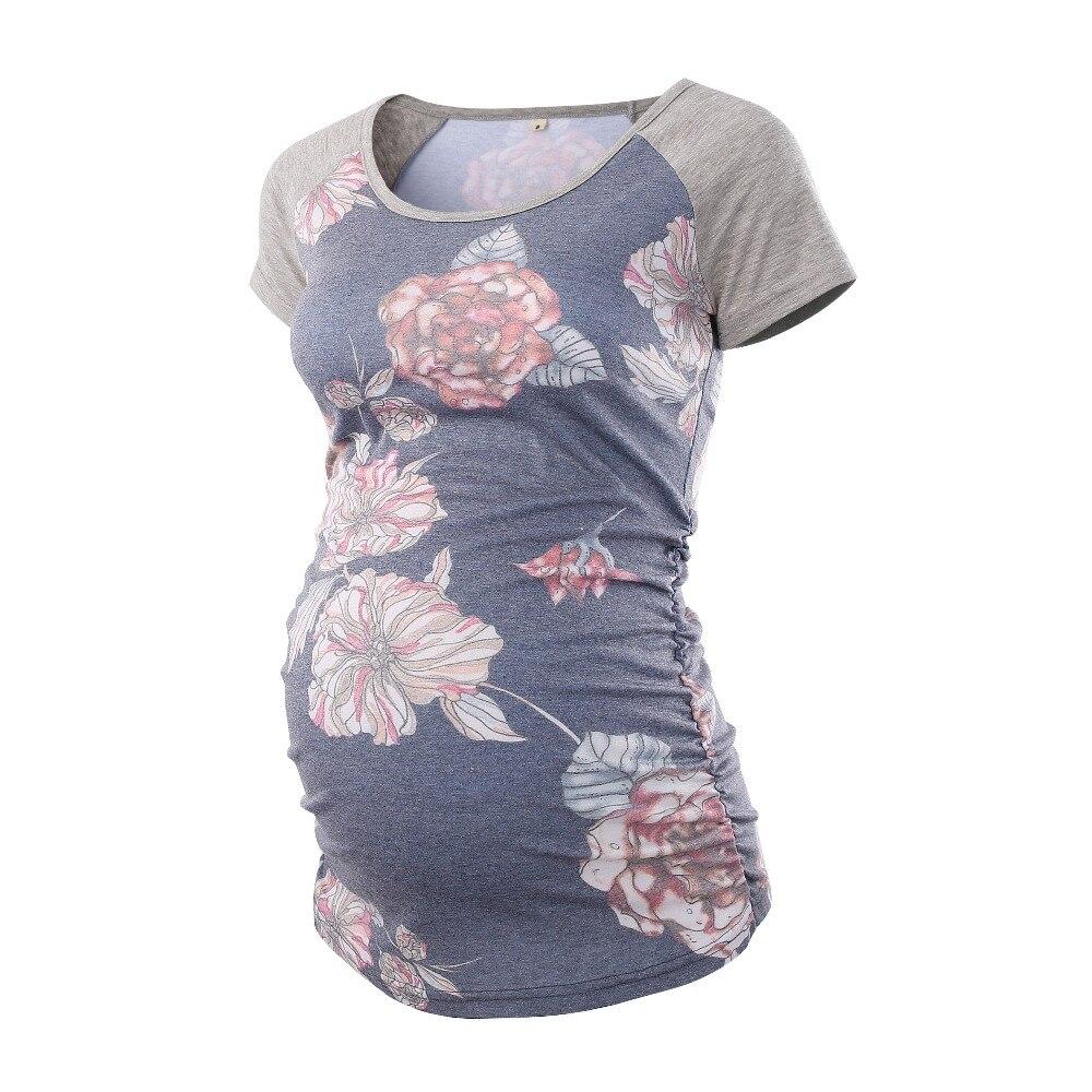 Vestido de maternidad de cuello redondo Tops halagador lado fruncido el embarazo, camiseta de la maternidad, ropa de verano 2018 túnica tanque mujer Camisetas