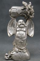 Old Craft 9 Chinese Silver Happy Laugh Maitreya Buddha Wealth Money Bag Statue Sculpture A0314
