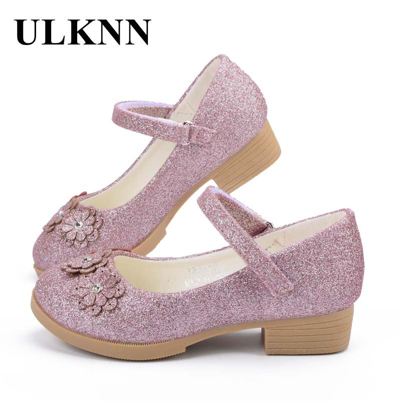 ULKNN  Girls Shoes For Party Children Sandals Princess For Kids Flower Leather Glitter Rhinestone Pink Baby Girl Kids Shoe