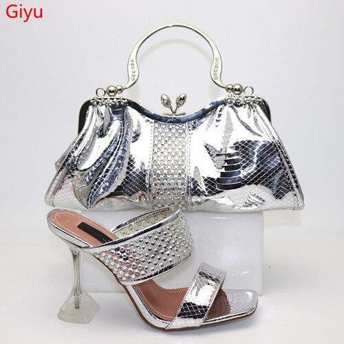 Doershow chaussures italiennes assorties et sac ensemble chaussures et sac de mariage africain ensemble chaussure et sac en argent et sac à main ensemble d'été femmes! HVF1-21