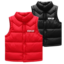 2018 Children Winter New Stand Collar Down Cotton Vests Kids Casual Letter Printing Waistcoats Boys Outdoor