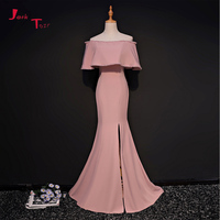 Jark Tozr Custom Made Beading Sequins Skirt Slit Pink Satin Mermaid Formal Evening Dresses Long 2018 Vestido De Festa