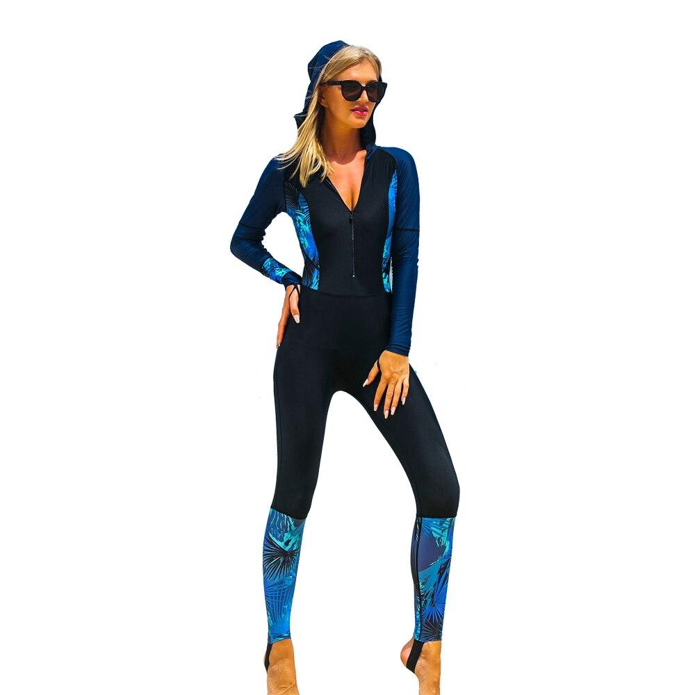SBART Blue Print Hoody Full Swimsuit Long Sleeve Front Zip Rashguard Women Wetsuit Lycra UV Protection Rash Guard Surf Suit 2016 sbart long sleeve rash guard women jacket shirt swimwear swimsuit surf rashguard windsurf suit top tshirt clothes d53