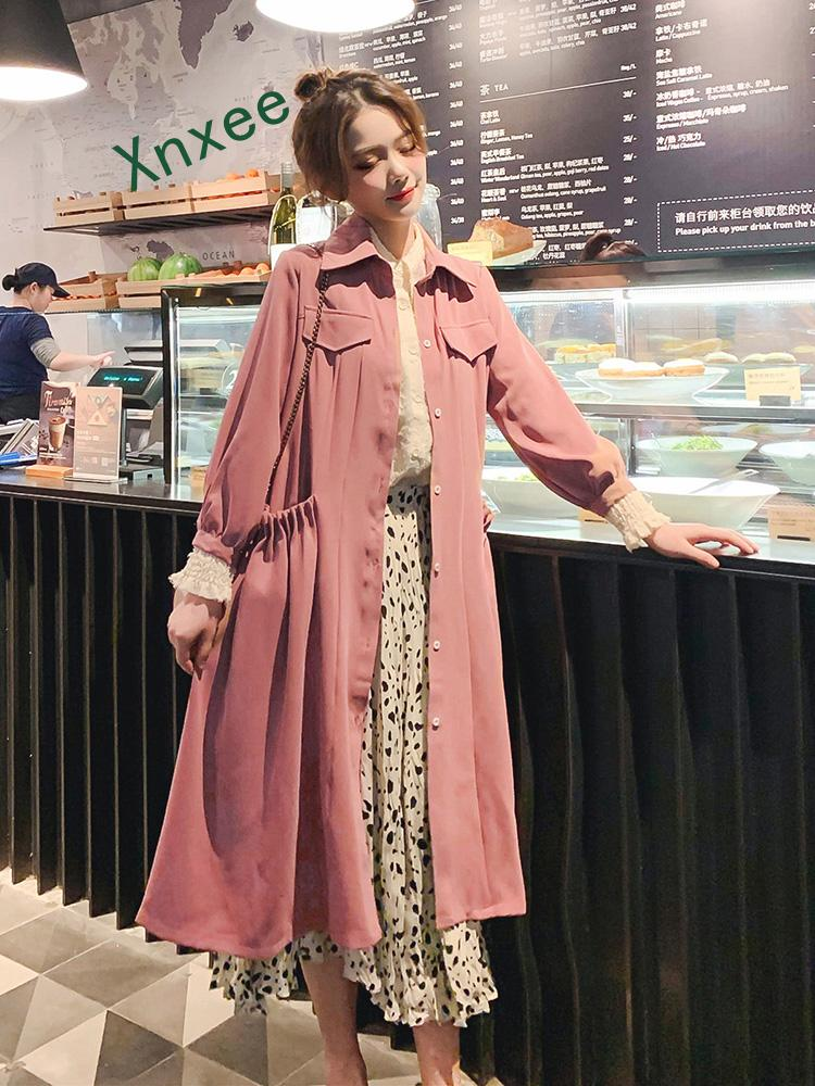 Xnxee Spring and Autumn New Thin Coat for Women pink big pockets dress cute long trench coats overcoat female solid color