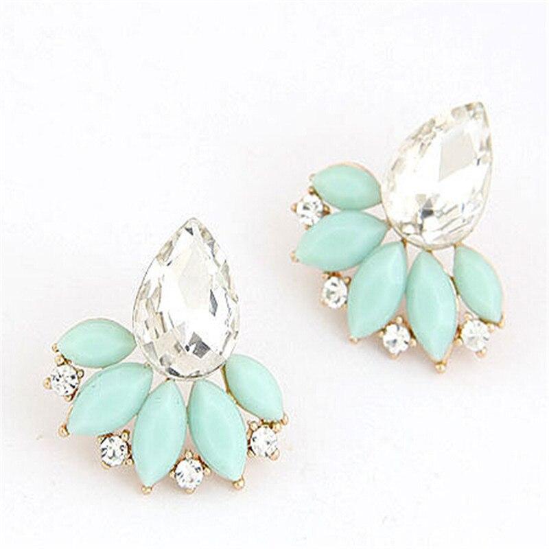 Ahmed Jewelry New Brand Design Retro Exquisite Women Acrylic Flower Crystal Gem Cubic Zircon Stud Earrings