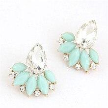Ahmed Jewelry New Brand Design Retro Exquisite Women Acrylic Flower Crystal Gem Cubic Zircon Stud Earrings For Women