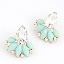 Jewelry New Brand Design Retro Exquisite Women Acrylic Flower Crystal Gem Cubic Zircon Stud Earrings For Women