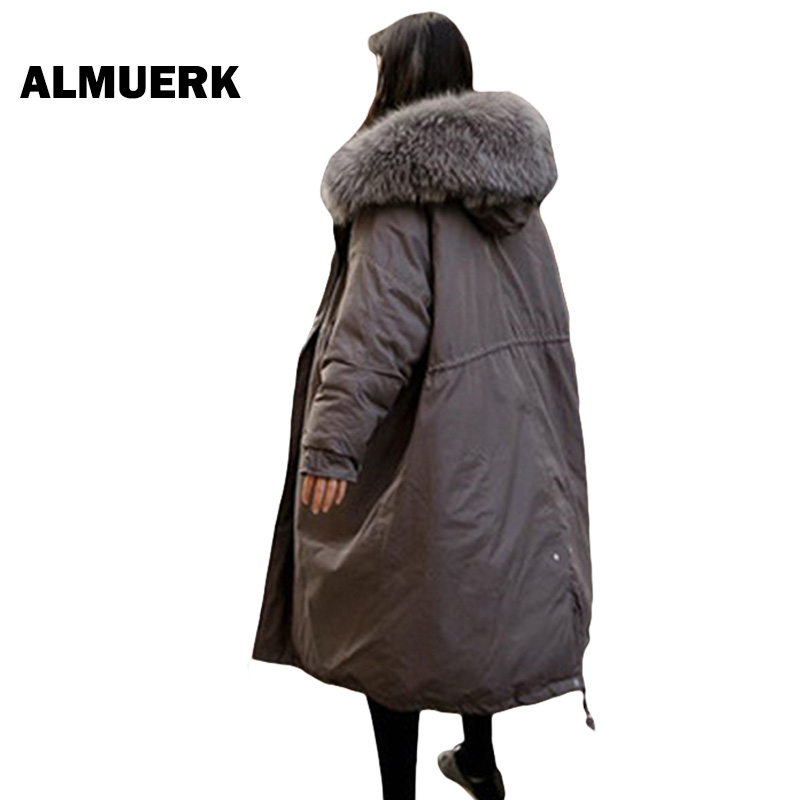 Plus Size winter women jacket 2017 thick hooded Big Fur collar cotton coat loose Oversized female winter outerwear parkas YZ272