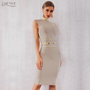 Image 4 - Adyce 2020 New Summer Bandage Dress Women Elegant Celebrity Evening Party Dress Vestidos Sexy Apricot Sleeveless Tank Club Dress