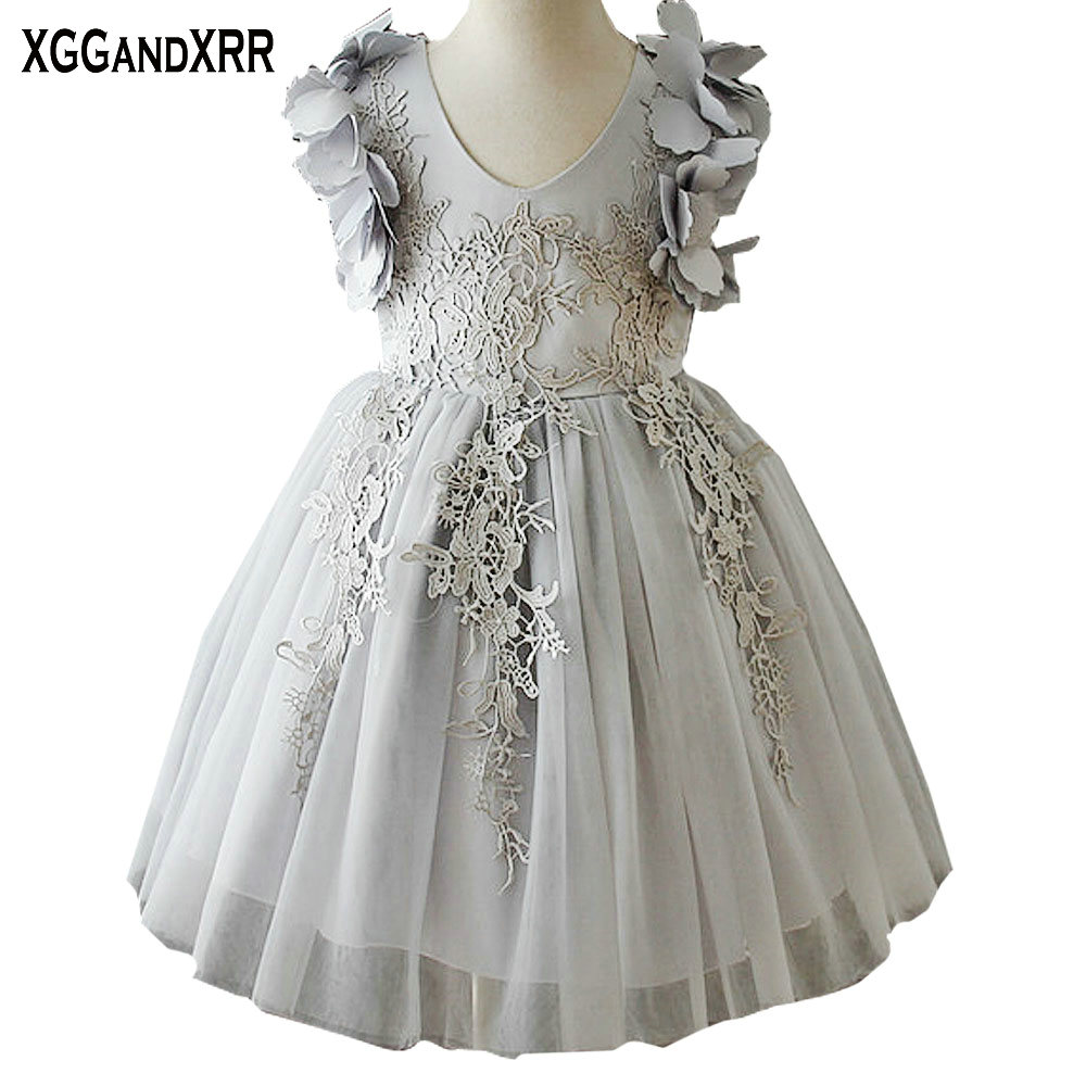 Hot Sale Tulle Ball Gown Flower Girl Dresses 2018 V Neck Appliques ...