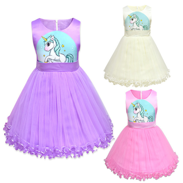 39b3005e Dresses 2018 Summer Mesh Baby Dress Kids Unicorn Party Christmas Costume  Children Cosplay Clothes Ball Gown Princess Girls Dress