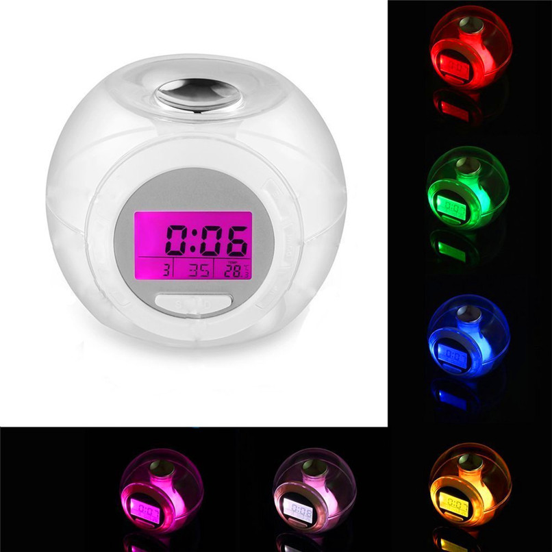 New Wake Up Light Clock For Kids Child Toddler Adults 7 Colors Changing Alarm Clock Wholesale Free Shipping 4RC05