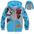 Causal bonito caçoa a camisola casaco azul com capuz brasão para 2-8yrs crianças das meninas dos meninos dos desenhos animados mickey camisola roupas outerwear