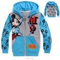 Lindo causal camiseta de los niños capa de dibujos animados mickey azul sudadera con capucha para 2-8yrs niños niños niñas ropa sudadera prendas de vestir exteriores