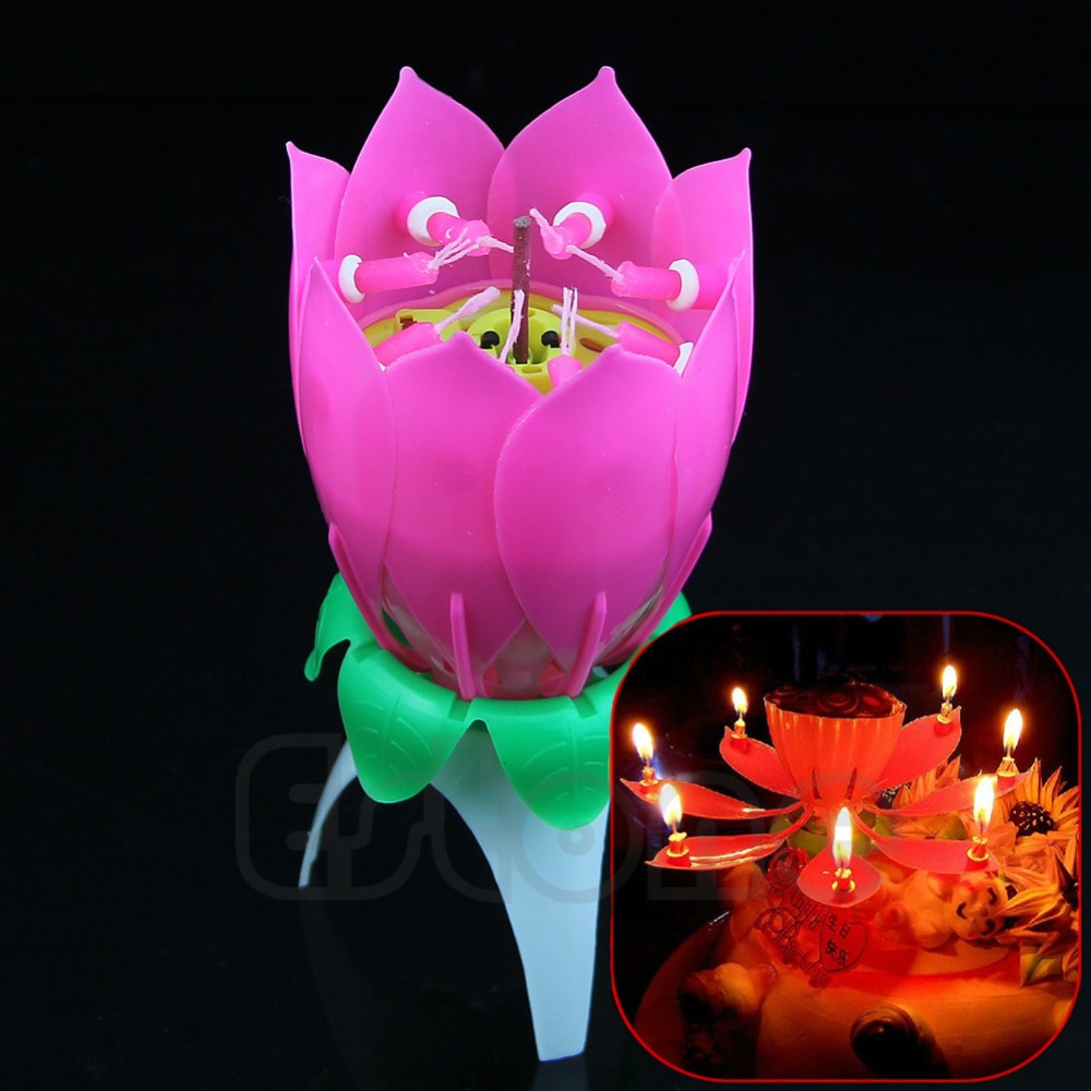New Romantic Musical Lotus Flower Happy Birthday Party Gift Candle