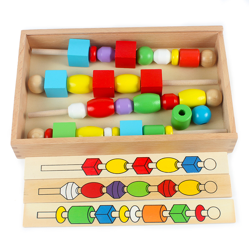 Hot Sales Montessori Wooden Educational Wood Bead Sequencing Box Color Geometrical Shape Math Toys Early Learning Birthday Gift(China)