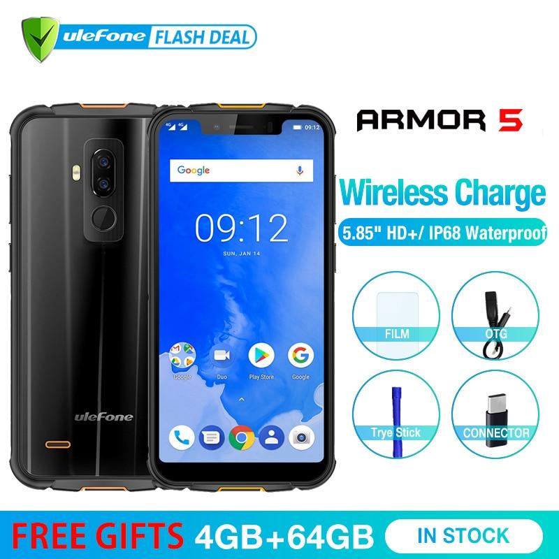 Ulefone Armure 5 Étanche IP68 NFC 5.85 HD Mobile Téléphone MT6763 L'atco-core Android 8.1 4 gb + 64 gb Sans Fil charge Visage ID 5000 mah