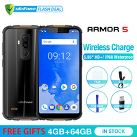 Ulefone Armor 5 Waterproof IP68 NFC 5.85 HD Mobile Phone MT6763 Otca core Android 8.1 4GB+64GB Wireless charger Face ID 5000mAh