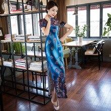 มาใหม่แฟชั่นสไตล์จีนชุดสตรีกำมะหยี่ยาวCheongsamสง่างามบางQipaoเสื้อผ้าขนาดSml XL XXL F061305
